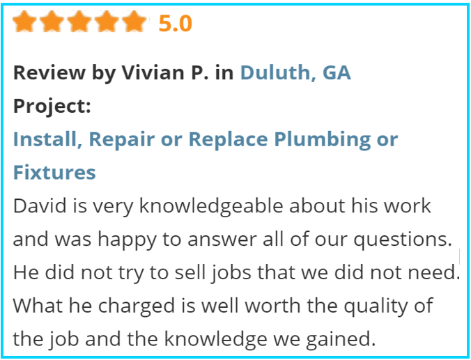 Valu-Rite Plumbing reviews Johns Creek Ga
